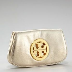 Tory burch gold clutch with strap attachment